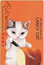 LANCY CAT KITTEN CUTTING BREAD BEST WISHES LUCK POSTCARD