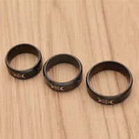 Gothic Triple Moon Goddess Finger Rings Black Stainless Steel Band Ring Jewelry