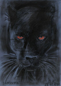 original drawing A4 61PK art samovar oil pastel etude animal panther Signed 2021