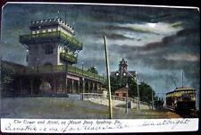 READING PA ~ 1900's TOWER & HOTEL ON MOUNT PENN. ~ NIGHT SCENE ~ TROLLEY
