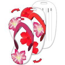 Lenticular Flip Luggage Tag Flip Flop Shape Tropical Hawaiian Flowers #LTFF-365#