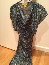 NWOT Catherine Malandrino black/blue ruched dress prom size S