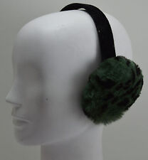 Real Sheared Rabbit Dyed Green Cheetah Fur Earmuffs New  (made in the U.S.A.)