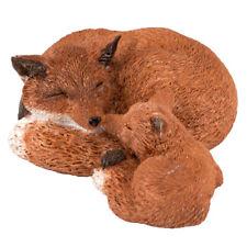 "Mini Miniature Sleeping Red Fox Mama With Pup Kit Figurine 3"" Long New In Box!"