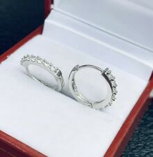 18k Solid White Gold Cute Hoop Earrings With White Stones. 2.20 grams