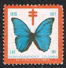 Cinderella. Columbia 1971. Anti Tb Charity Seal/Stamp. Butterfly.