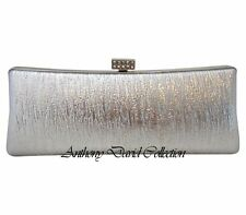 Ladies Silver Faux Leather Silver Metal Evening Bag Purse with Crystals