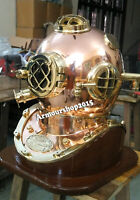 Replica Copper and Brass Helmet with Base Scuba Dive Diving Diver Old Helmet