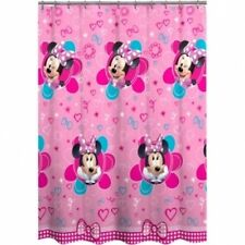 NEW! Disney Minnie Mouse Fabric Shower Curtain Pink Flowers Hearts Bow PEVA
