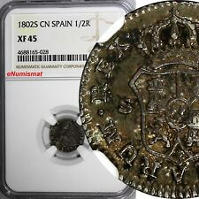 Spain Charles IV Silver 1802 S CN 1/2 Real NGC XF45 TOP GRADED BY NGC KM# 438.2