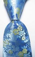 New Classic Floral Blue Light Yellow JACQUARD WOVEN 100% Silk Men's Tie Necktie