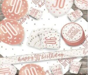 Rose Gold 90th Birthday Party Supplies Tableware & Decorations Glitz Age 90