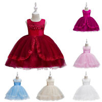 Princess Kid Baby Girl Dress Flower Party Gown Formal Wedding Dresses Tulle Tutu
