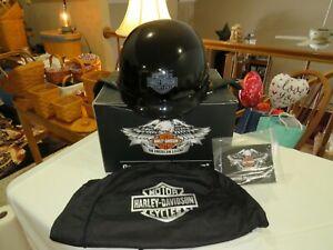 Harley Davidson Motorcycle Half Helment Size MED GLOSS BLK WORN ONCE