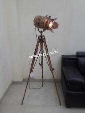 Nautical Copper Spot Light Floor Lamp Vintage Wooden Tripod Stand Spot Light