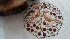Finished hand made cross stitch piece,Plum Street Samplers,The Black Cherry Tart