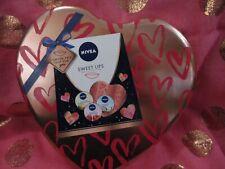 Nivea Sweet Lips Lip Tin 3 Nivea Lip Balms New in Heart Box Valentines Gift