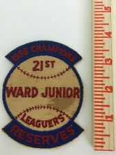 "1958 Champions Baseball 4"" Patch 21st Ward Junior Reserves Little League VTG MLB"