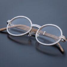 Vintage Retro Silver Clear Lens Wood Grain Mens Hip Hop Iced Cz Frame Glasses