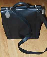 KENNETH COLE NY black leather MESSENGER BRIEFCASE Computer organizer bag NEW