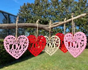Valentine's Day Ornaments Wood Heart Love Red Pink Romantic 8p Set Home Decor