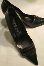RUSSELL&BROMLEY~ High Heel Shoes Black Buckle Size 40 Italy~LOW GLOBAL SHIP