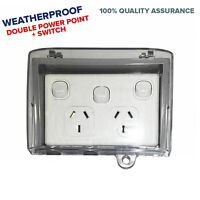10 AMP Double Power Point Outlet GPO w/ Extra Switch & IP53 Waterproof Enclosure