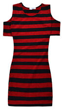 Girls New Cold Shoulder Dress Kids Black Red Stripe Party Dresses 7 - 13 Years