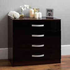 Hulio High Gloss Chest Of Drawers Black Walnut 4 Drawer Bedroom Furniture New