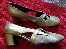 VTG 40's 50's Fiorentina Super Hand Made Italy Gold Leather Lame Heels 7.5 M