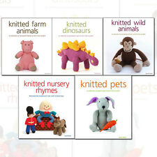 Knitted Animals Collection, Knitted Dinosaurs, Knitted Farm Animals, 5 Books Set