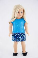 Blue Tee and Skirt American Made / Doll Clothes For 18 inch Girl Dolls