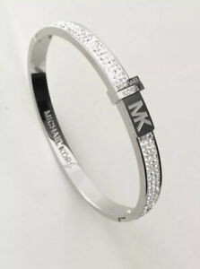 Michael kors Bracelet Silver Crystal Bangle With MK Pouch