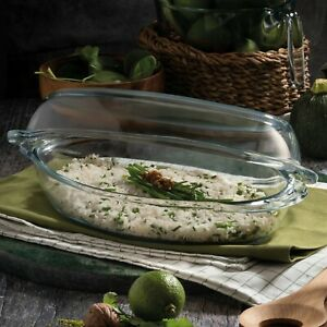 Large Oval Glass Casserole Oven Dish  Non Stick Reusable Tray Cooking Dishwasher
