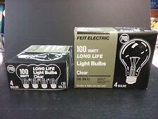 NEW Feit 100 watt A19 Clear 4 Bulbs Pack 130V old standard household lite bulbs