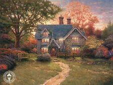 Gingerbread Cottage - Tree, Bench, Garden, Path - Thomas Kinkade Dealer Postcard