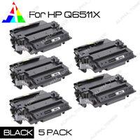 5 Pack High Yield Q6511X 11X Toner Cartridge For HP LaserJet 2420n 2430 2430n