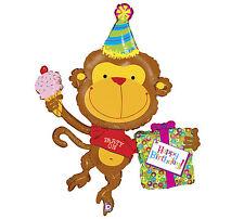 "Happy Birthday Monkey Present Safari Animal 49"" Foil Balloon Mylar Brown Party"