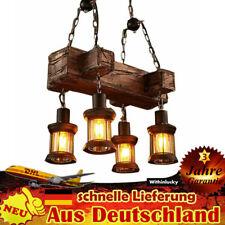 Rustikale Hängelampe Deckenlampe Vintage, Kronleuchter Holz Hängeleuchte 4 Light