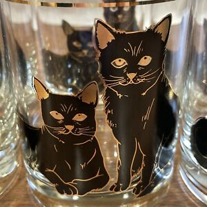 Vintage 1950s Black Cat Gold MCM Glassware Cocktail Set 6 Glasses Highball Mod