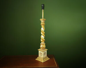 XL Antique French Carved Barley Twist Giltwood Altar Candlestick Table Lamp