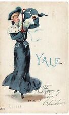 1905 YALE UNIVERSITY College Girl Postcard w/ Banner CT Connecticut !!!