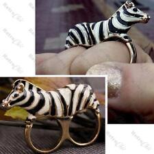 Grande Zebra Doppio Anello Zoo Animale 3D CAVALLO strass in cristallo nero / oro Stripe