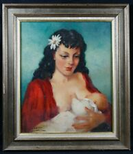 Antique Oil/Canvas Signature Maternity Woman Giving The Breast IN His/Her Kids