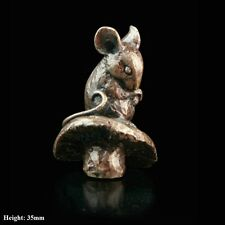 Mouse On Toadstool Solid Bronze Foundry Cast Sculpture by Butler & Peach [2045]