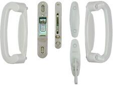 2-Panel Sliding Patio Door Handle Latch Lock Hardware Set White Security Plate