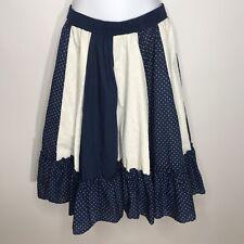 Vtg 70s Partners Please Malco Modes Blue White Polka Dot Square Dance Skirt Sz M