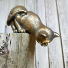 Vintage Gold Peering Cat Kitten Resin Outdoor Garden Statue Ornament Sculpture