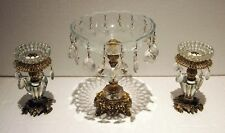 SET OF 3 PIECES CENTER PIECE GILT ORMOLO & CRYSTAL WITH PRISMS GORGEOUS DETAIL