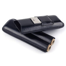 Black Soft Leather Cigar Case Humidor Holder 2 Tube with Cutter